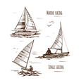 sea yachting single yachts vector image vector image