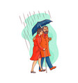 senior old couple walking under umbrella vector image vector image