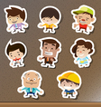 set cartoon stickers on board vector image vector image