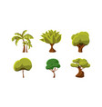 set of green trees natural landscape elements vector image vector image