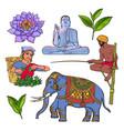 set of hand drawn sri lanka cultural symbols vector image