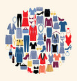 set of woman clothes and accessories in flat style vector image vector image