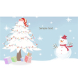 Snowman with tree vector | Price: 1 Credit (USD $1)