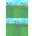 spending time in urban park set of posters vector image vector image