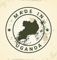 Stamp with map of Uganda vector image vector image