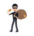 thief stealing money cartoon hacker stealing a bag vector image