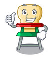 thumbs up cartoon baby highchair for kids feeding vector image