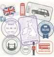 travel stamps set - great britain and england vector image