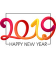 white happy 2019 new year background with neon vector image