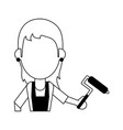 woman holding paint roller avatar icon image vector image vector image