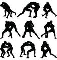 wrestling silhouette vector image