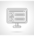 Audio player application flat line icon vector image