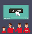 suscribe video man influencer viral content vector image