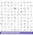 100 wild nature icons set outline style vector image vector image