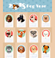 2018 new year calendar with cute and funny puppy vector image vector image