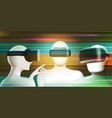 abstract vr concept with three men in virtual vector image vector image