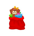 adorable puppy with bow on head sitting in red bag vector image vector image