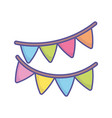 bashower bunting flags decoration icon vector image