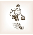Basketball player sketch style vector image vector image