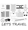black and white travel icon set vector image