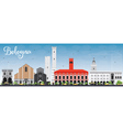 Bologna Skyline with Landmarks and Blue Sky vector image vector image