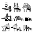 Bridges in perspective icons set vector image vector image