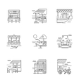 Cafe and bungalows linear icons set vector image vector image