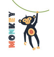 card with cute monkey isolated on white vector image