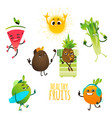 cartoon fruit summer party characters set vector image vector image