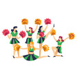 cheerleaders in uniform with pompoms cheering up vector image vector image