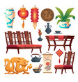 chinese restaurant stuff asian decor isolated set vector image vector image