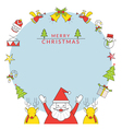 Christmas Frame Santa Claus and Reindeer Line Icon vector image vector image