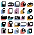 Collection flat icons with long shadow Multimedia vector image vector image
