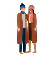 couple with winter clothes avatar character vector image vector image