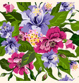 floral watercolor pattern with flowers peonies vector image vector image