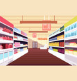 grocery supermarket interior with full product vector image vector image