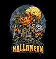 halloween scarecrow skull head and pumpkins vector image vector image