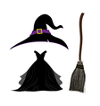 Halloween Set Witch Hat Black Dress Broom vector image vector image