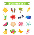 hello summer icon set flat cartoon style beach vector image