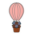 hot air balloon with flowers icon imag vector image vector image