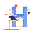 hurdling training woman with letter h vector image