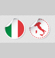 italy sticker with flag and map label round tag vector image
