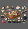japan sushi and rolls sets on grey background vector image