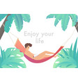 man at beach hammock reading book and relaxing vector image vector image