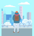 man standing in park city landscape in winter vector image vector image