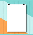 Mock-up vertical poster White A4 paper sheet vector image