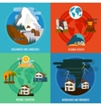 Natural Disaster 4 Flat Icons Set vector image vector image