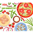 omelette ingredients vector image vector image