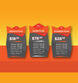 orange pricing table template vector image