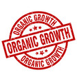 organic growth round red grunge stamp vector image vector image